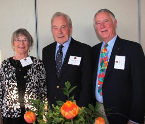 Michael with the grandson of his wartime host, Walter Hinchman, and his wife, Ann. Photo: Mary Lou Seaward