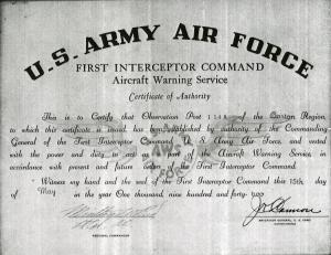 US Air Force Certificate