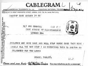 Arrival telegramme