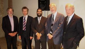 Left to right Simon Keyes, Julian Bond, Imam Musharraf Hussain al-Azhari, Rabbi Dr Jonathan Magonet, Michael Henderson (Photo: Michael Smith)