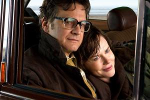 Still from The Railway Man – Eric Lomax (Colin Firth) and his wife Patti (Nicole Kidman) relax in their car after a brisk walk on the beach.