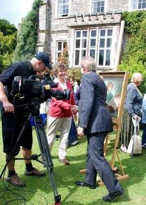 Erica filmed as she talks with Philip Mould at the Antiques Roadshow, Hartland Abbey, about her mother's portrait (Summer 2011) painted in 1915.Antiques Roadshow painting of Erica Henderson's mother, painted in 1915