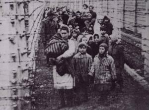 Holding hands, Eva and Miriam lead other twins out of Auschwitz in 1945