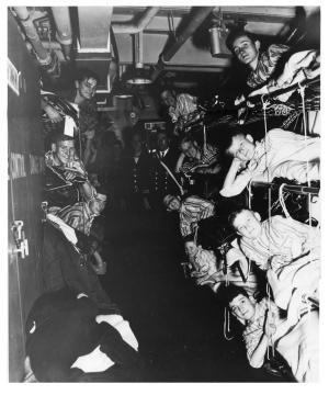 Evacuees on escort carrier