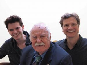 Image from the production of The Railway Man – Eric Lomax (centre), the former POW who put decades of suffering behind him to reconcile with the man who had caused him pain is flanked by the actors who portray him in the film of his memoirs: Jeremy Irvine (left) plays the young Eric imprisoned in Burma, and Colin Firth (right), the older Eric fighting to excise the demons of his past.