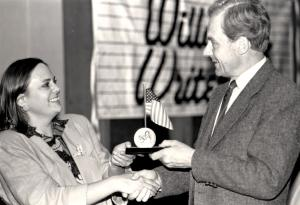 Receiving a George Washington Honor medal