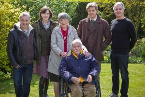 Image from the production of The Railway Man – The cast and crew of The Railway Man meet with its real-life subject Eric Lomax and his wife Patti in Berwick-Upon-Tweed. From left: Writer Frank Cottrell Boyce, Actor Nicole Kidman (Patti Lomax), Patti Lomax, Eric Lomax, Actor Colin Firth (Eric Lomax), and producer Andy Paterson.